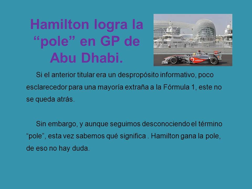 Hamilton logra la pole en GP de Abu Dhabi.
