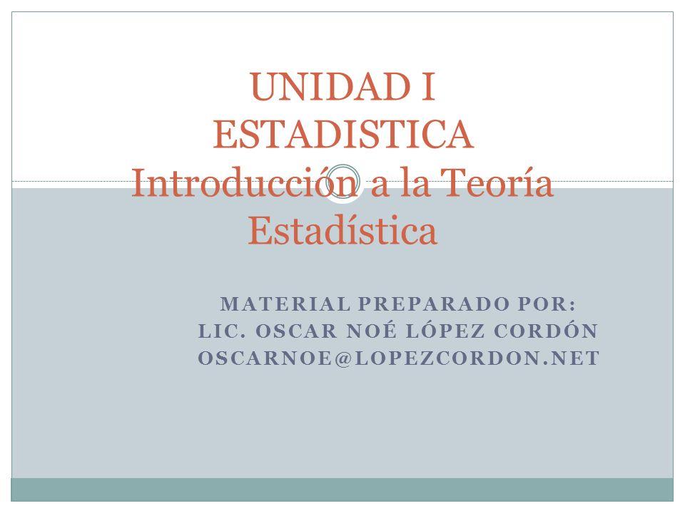 UNIDAD I ESTADISTICA Introducción a la Teoría Estadística MATERIAL PREPARADO POR: LIC. OSCAR NOÉ LÓPEZ CORDÓN OSCARNOE@LOPEZCORDON.NET