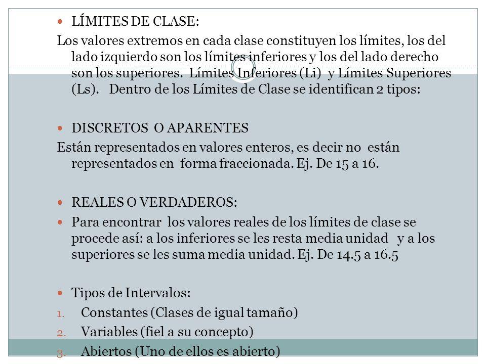 LÍMITES DE CLASE: Los valores extremos en cada clase constituyen los límites, los del lado izquierdo son los límites inferiores y los del lado derecho