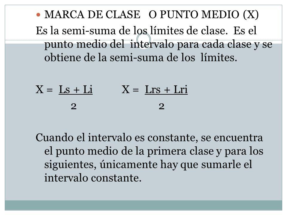 MARCA DE CLASE O PUNTO MEDIO (X) Es la semi-suma de los límites de clase. Es el punto medio del intervalo para cada clase y se obtiene de la semi-suma