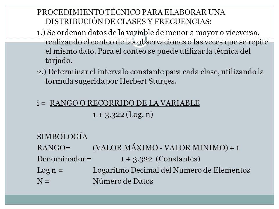 PROCEDIMIENTO TÉCNICO PARA ELABORAR UNA DISTRIBUCIÓN DE CLASES Y FRECUENCIAS: 1.) Se ordenan datos de la variable de menor a mayor o viceversa, realiz