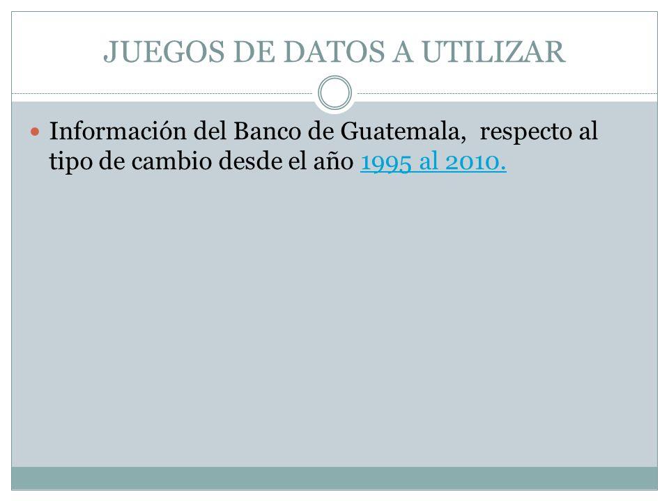JUEGOS DE DATOS A UTILIZAR Información del Banco de Guatemala, respecto al tipo de cambio desde el año 1995 al 2010.1995 al 2010.