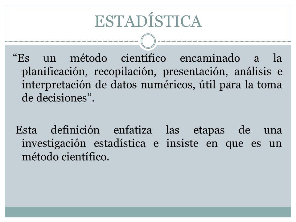 4 DEFINICIÓN DE ESTADÍSTICA La Estadística es la Ciencia de la SISTEMATIZACIÓN, RECOLECCIÓN, ORDENAMIENTO Y POSTERIOR PRESENTACIÓN de los datos referentes a un fenómeno o hecho social para su estudio metódico, con objeto de TOMAR DECISIONES u obtener conclusiones.