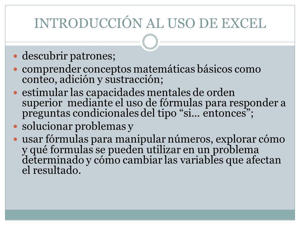INTRODUCCIÓN AL USO DE EXCEL descubrir patrones; comprender conceptos matemáticas básicos como conteo, adición y sustracción; estimular las capacidade