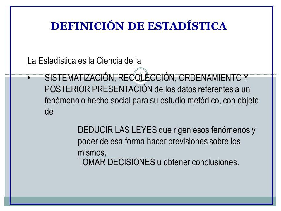 4 DEFINICIÓN DE ESTADÍSTICA La Estadística es la Ciencia de la SISTEMATIZACIÓN, RECOLECCIÓN, ORDENAMIENTO Y POSTERIOR PRESENTACIÓN de los datos refere