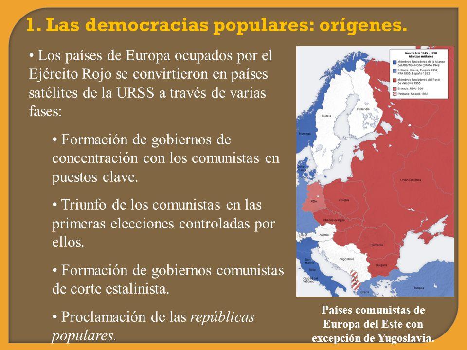 1. Las democracias populares: orígenes. Los países de Europa ocupados por el Ejército Rojo se convirtieron en países satélites de la URSS a través de