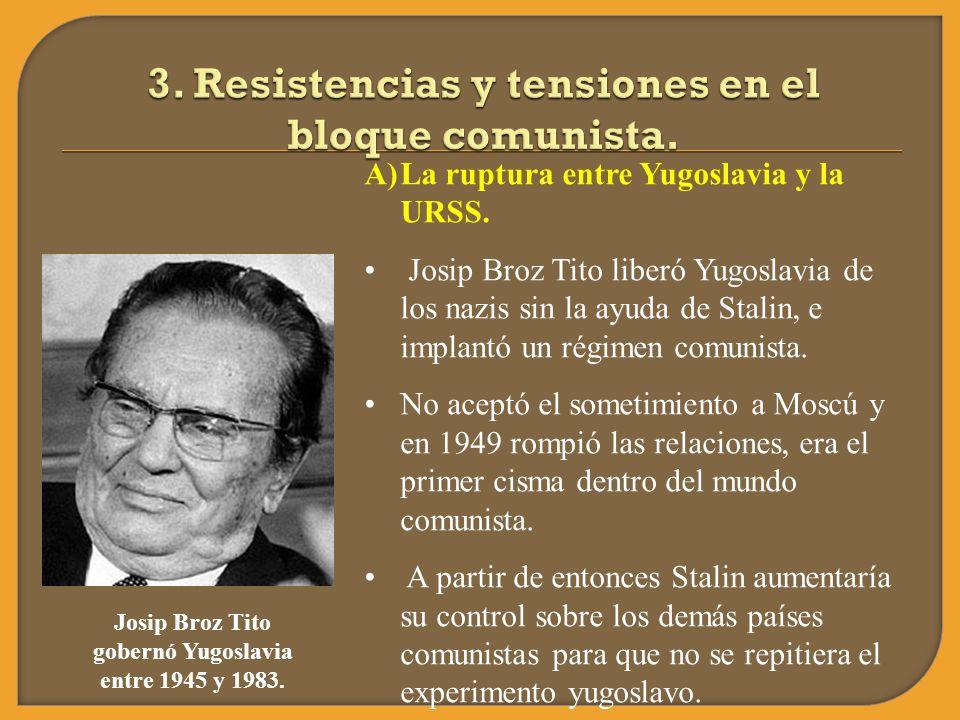 A)La ruptura entre Yugoslavia y la URSS. Josip Broz Tito liberó Yugoslavia de los nazis sin la ayuda de Stalin, e implantó un régimen comunista. No ac