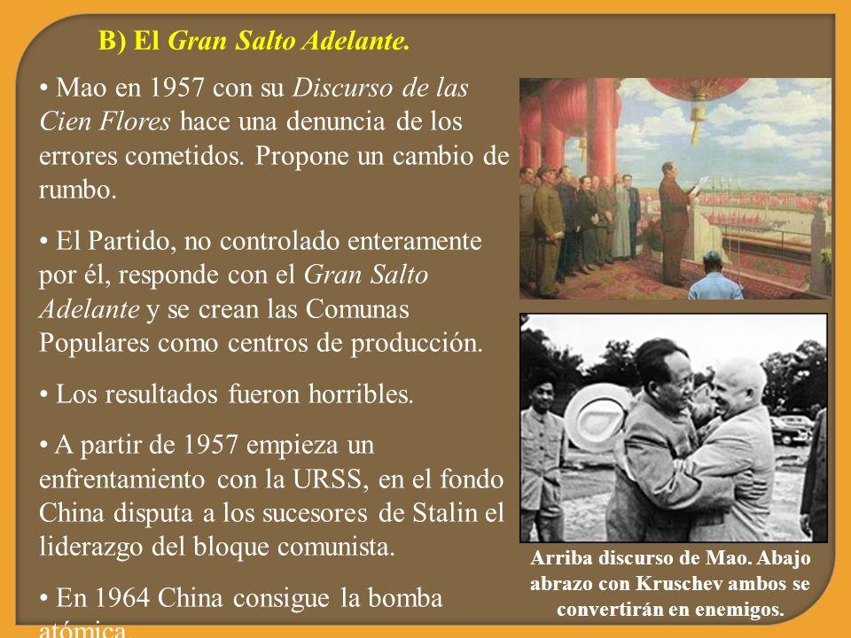 B) El Gran Salto Adelante. Mao en 1957 con su Discurso de las Cien Flores hace una denuncia de los errores cometidos. Propone un cambio de rumbo. El P