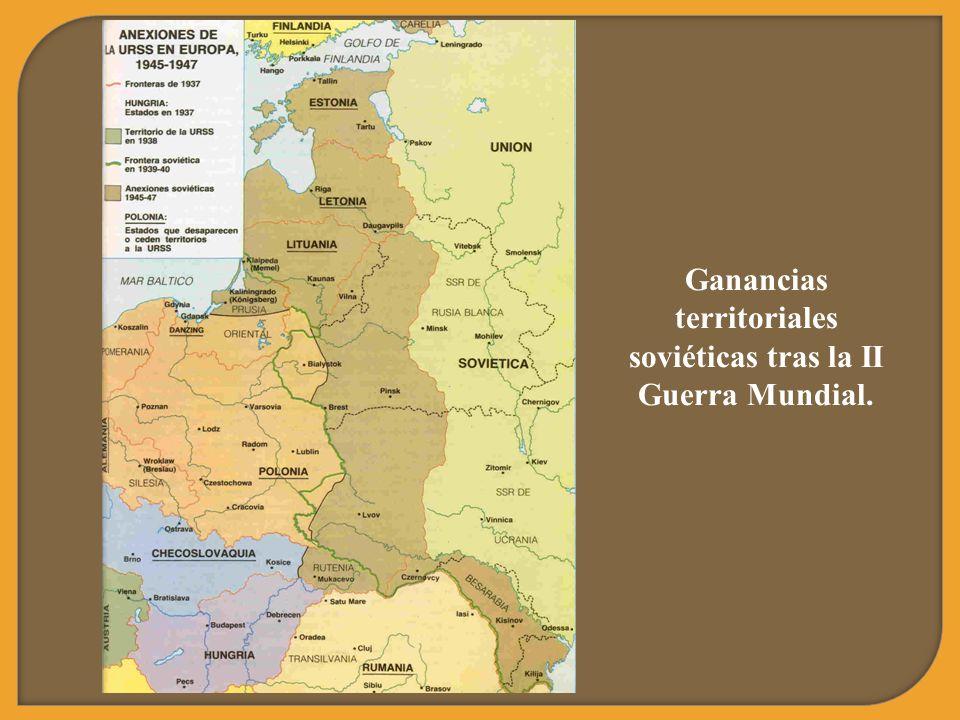 Ganancias territoriales soviéticas tras la II Guerra Mundial.