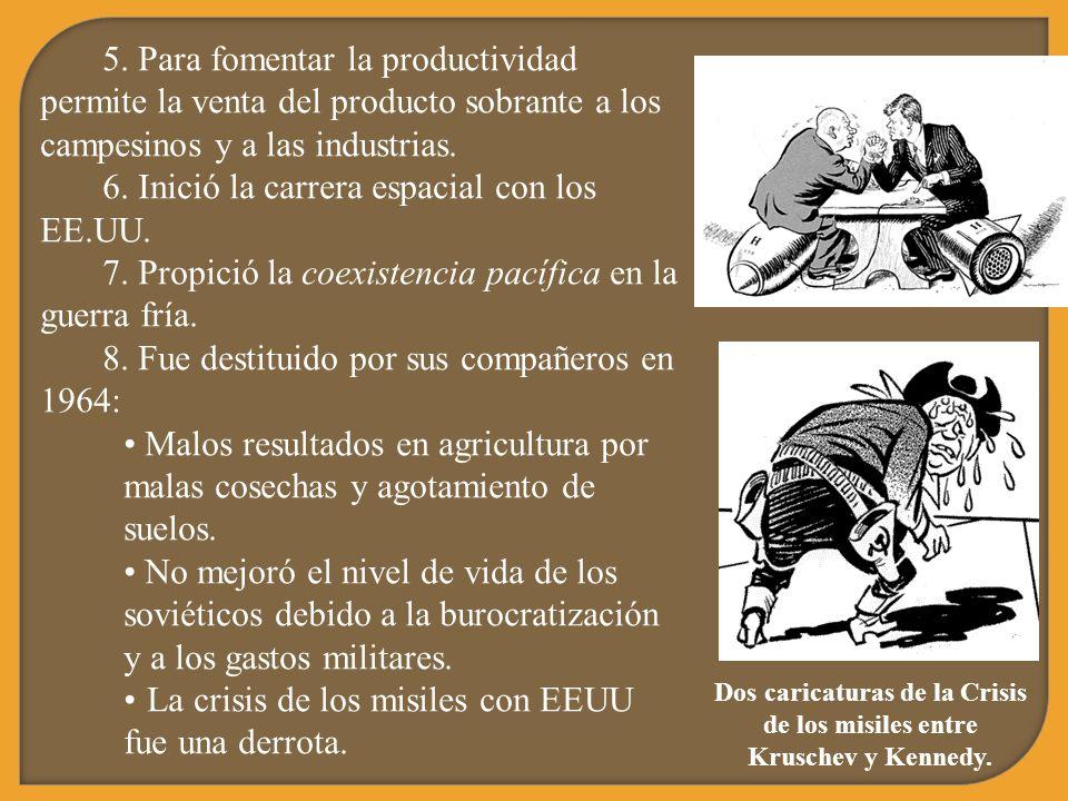 5. Para fomentar la productividad permite la venta del producto sobrante a los campesinos y a las industrias. 6. Inició la carrera espacial con los EE