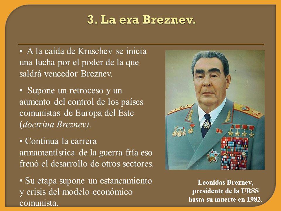 A la caída de Kruschev se inicia una lucha por el poder de la que saldrá vencedor Breznev. Supone un retroceso y un aumento del control de los países