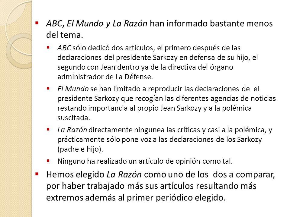 ABC, El Mundo y La Razón han informado bastante menos del tema.