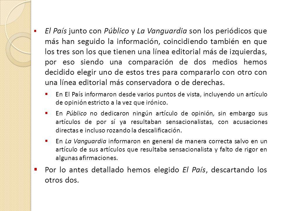 El País junto con Público y La Vanguardia son los periódicos que más han seguido la información, coincidiendo también en que los tres son los que tienen una línea editorial más de izquierdas, por eso siendo una comparación de dos medios hemos decidido elegir uno de estos tres para compararlo con otro con una línea editorial más conservadora o de derechas.