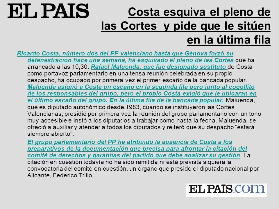El PP relega a Costa provisionalmente a la última bancada en las Cortes Punto y final a la controversia.