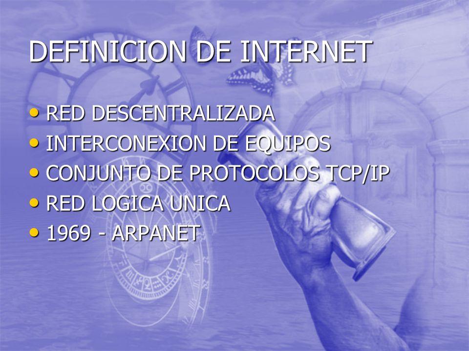 DEFINICION DE INTERNET RED DESCENTRALIZADA RED DESCENTRALIZADA INTERCONEXION DE EQUIPOS INTERCONEXION DE EQUIPOS CONJUNTO DE PROTOCOLOS TCP/IP CONJUNTO DE PROTOCOLOS TCP/IP RED LOGICA UNICA RED LOGICA UNICA 1969 - ARPANET 1969 - ARPANET