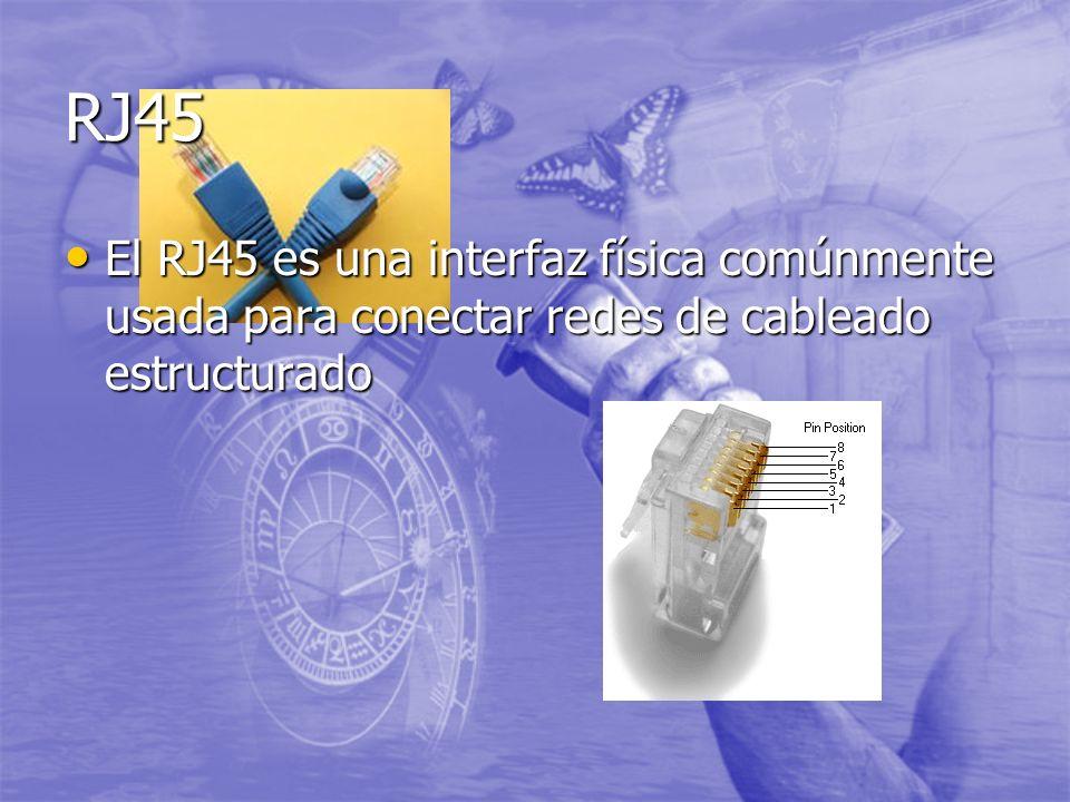 RJ45 El RJ45 es una interfaz física comúnmente usada para conectar redes de cableado estructurado El RJ45 es una interfaz física comúnmente usada para conectar redes de cableado estructurado