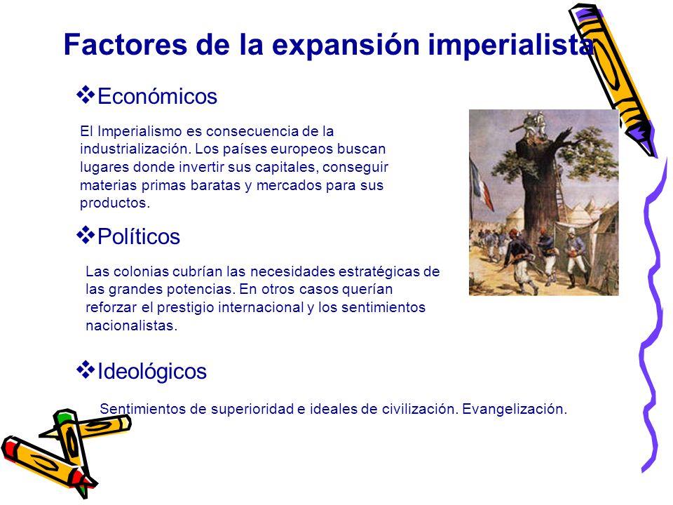 El Imperialismo es consecuencia de la industrialización. Los países europeos buscan lugares donde invertir sus capitales, conseguir materias primas ba
