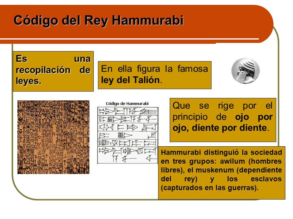 Es una recopilación de leyes. En ella figura la famosa ley del Talión. Que se rige por el principio de ojo por ojo, diente por diente. Hammurabi disti