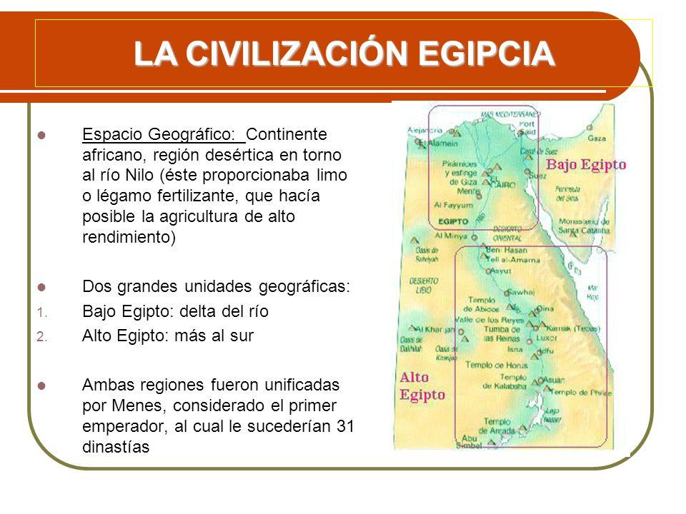 Espacio Geográfico: Continente africano, región desértica en torno al río Nilo (éste proporcionaba limo o légamo fertilizante, que hacía posible la ag