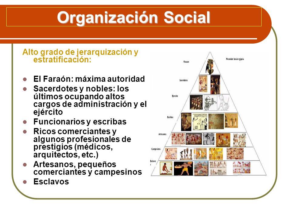 Organización Social Alto grado de jerarquización y estratificación: El Faraón: máxima autoridad Sacerdotes y nobles: los últimos ocupando altos cargos