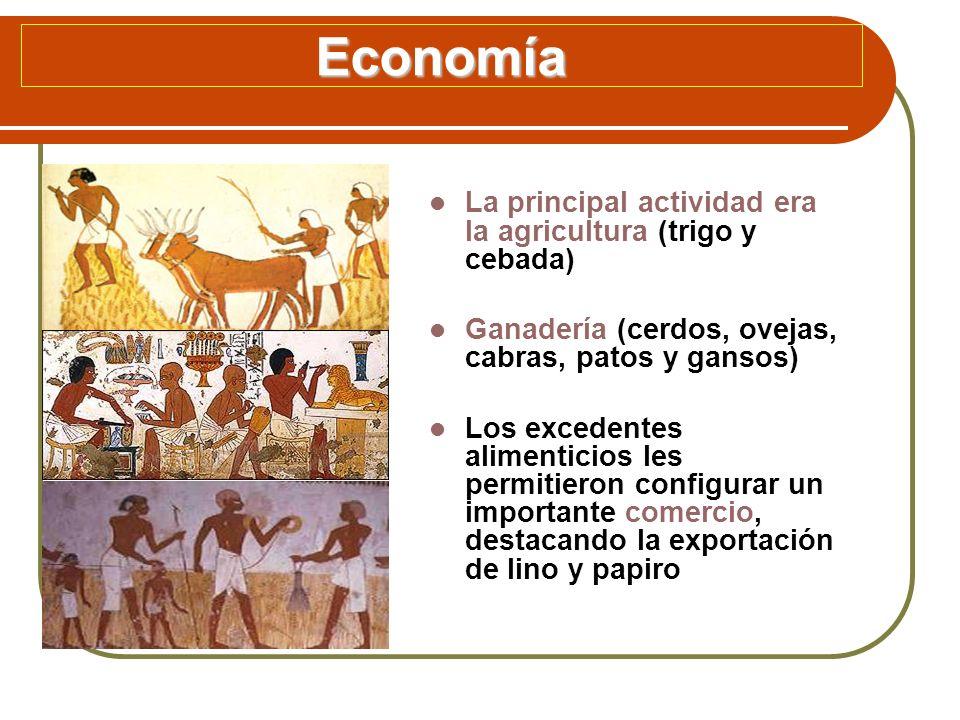 Economía La principal actividad era la agricultura (trigo y cebada) Ganadería (cerdos, ovejas, cabras, patos y gansos) Los excedentes alimenticios les