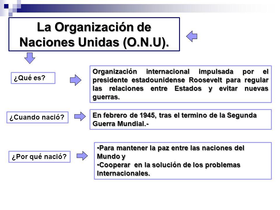 La Organización de Naciones Unidas (O.N.U). En febrero de 1945, tras el termino de la Segunda Guerra Mundial.- Para mantener la paz entre las naciones