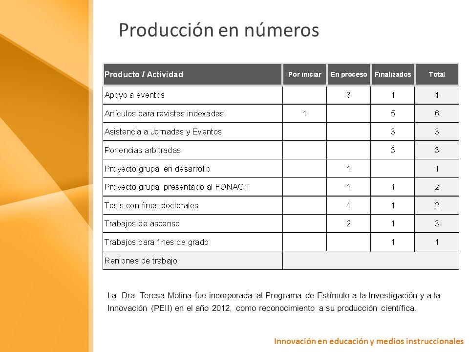 Producción en números Innovación en educación y medios instruccionales La Dra.