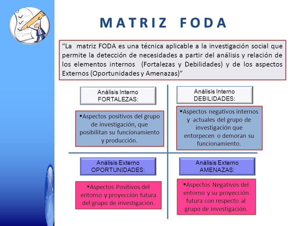 La matriz FODA es una técnica aplicable a la investigación social que permite la detección de necesidades a partir del análisis y relación de los elem