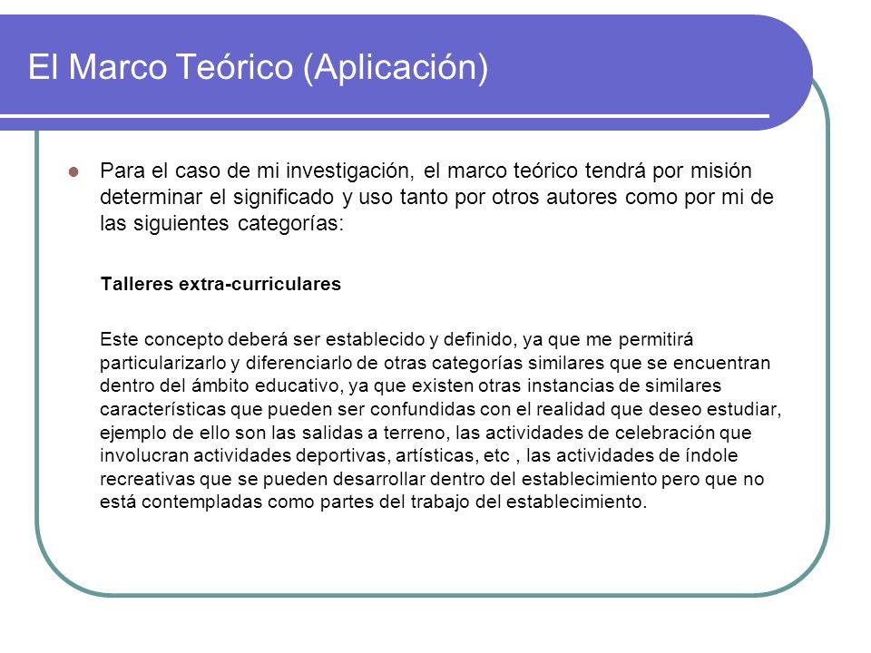 El Marco Teórico (Aplicación) Para el caso de mi investigación, el marco teórico tendrá por misión determinar el significado y uso tanto por otros aut