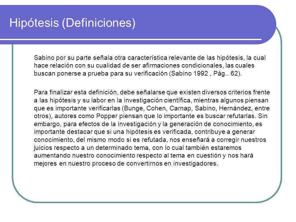 Hipótesis (Definiciones) Sabino por su parte señala otra característica relevante de las hipótesis, la cual hace relación con su cualidad de ser afirm