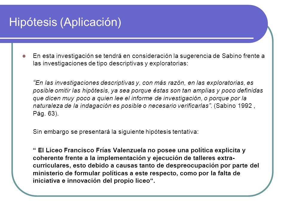 Hipótesis (Aplicación) En esta investigación se tendrá en consideración la sugerencia de Sabino frente a las investigaciones de tipo descriptivas y ex