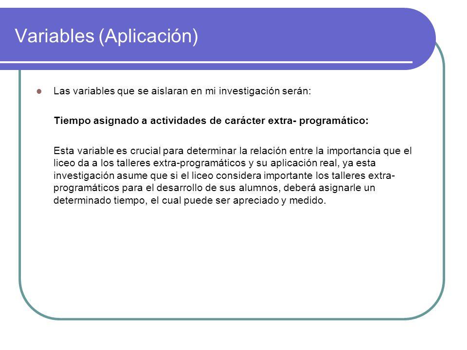 Variables (Aplicación) Las variables que se aislaran en mi investigación serán: Tiempo asignado a actividades de carácter extra- programático: Esta va