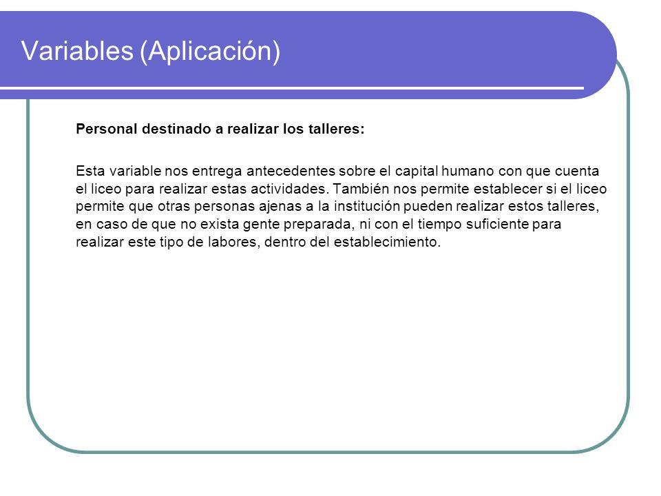 Variables (Aplicación) Personal destinado a realizar los talleres: Esta variable nos entrega antecedentes sobre el capital humano con que cuenta el li