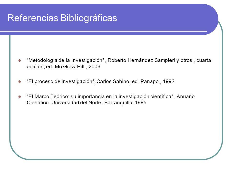Referencias Bibliográficas Metodología de la Investigación, Roberto Hernández Sampieri y otros, cuarta edición, ed. Mc Graw Hill, 2006 El proceso de i