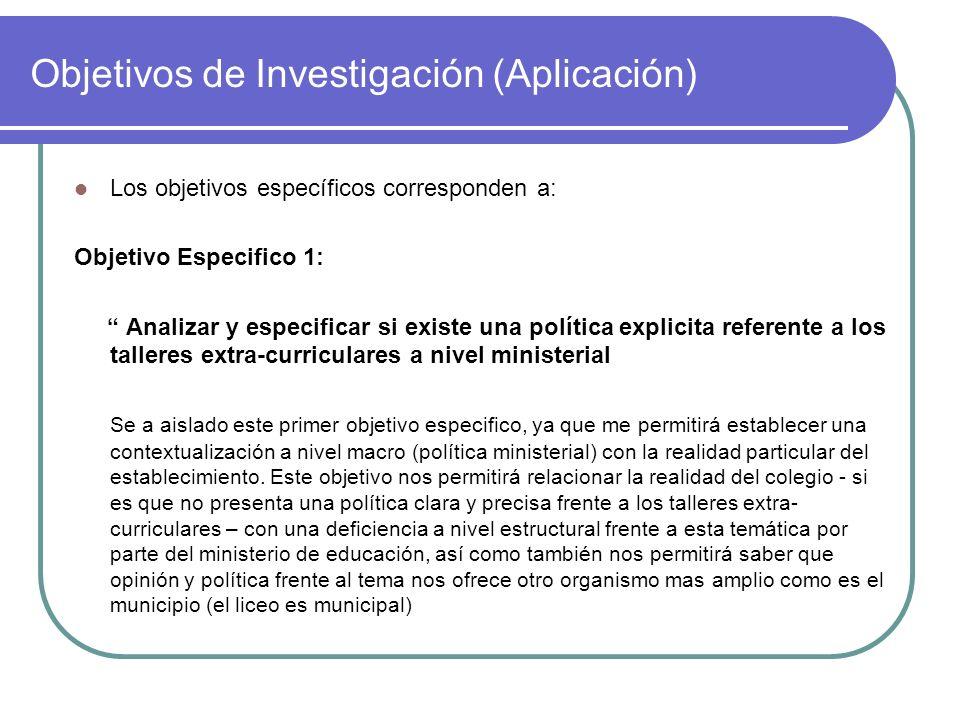 Objetivos de Investigación (Aplicación) Los objetivos específicos corresponden a: Objetivo Especifico 1: Analizar y especificar si existe una política