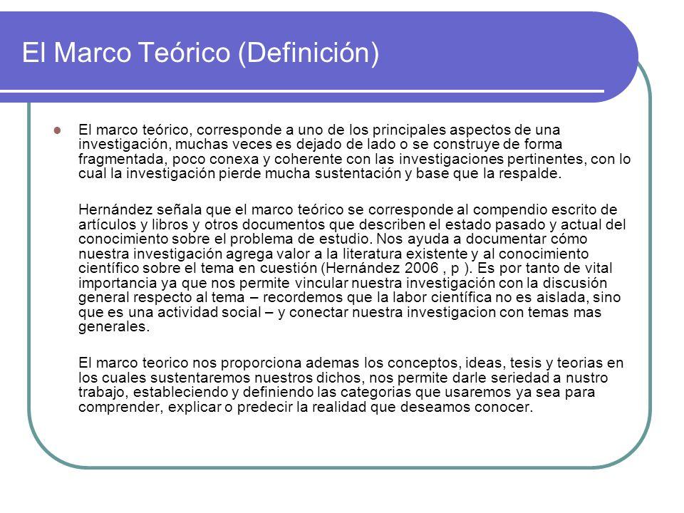El Marco Teórico (Definición) El marco teórico, corresponde a uno de los principales aspectos de una investigación, muchas veces es dejado de lado o s