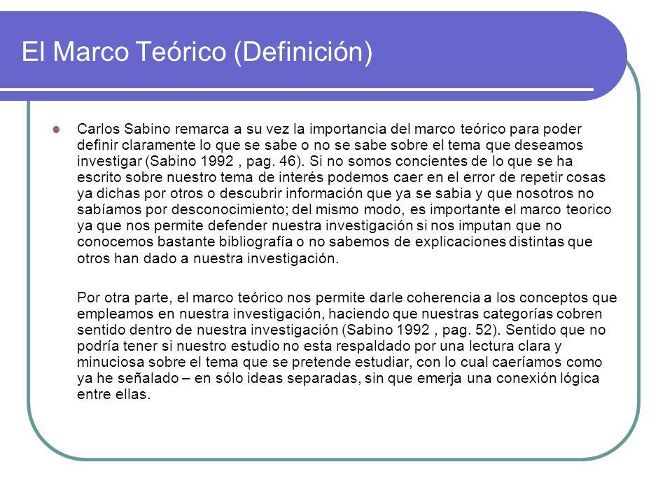 El Marco Teórico (Definición) Carlos Sabino remarca a su vez la importancia del marco teórico para poder definir claramente lo que se sabe o no se sab