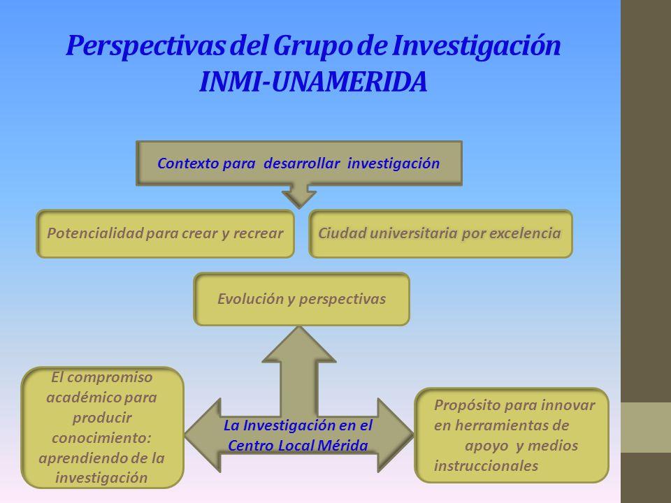 Perspectivas del Grupo de Investigación INMI-UNAMERIDA El proyecto de investigación: crecimiento académico y sostén institucional