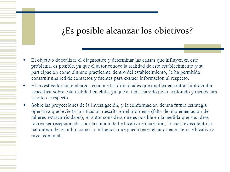 ¿Es posible alcanzar los objetivos? El objetivo de realizar el diagnostico y determinar las causas que influyen en este problema, es posible, ya que e