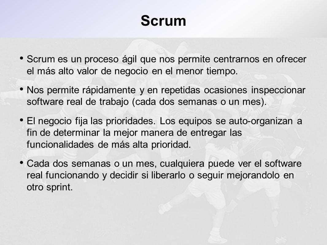Scrum es un proceso ágil que nos permite centrarnos en ofrecer el más alto valor de negocio en el menor tiempo. Nos permite rápidamente y en repetidas