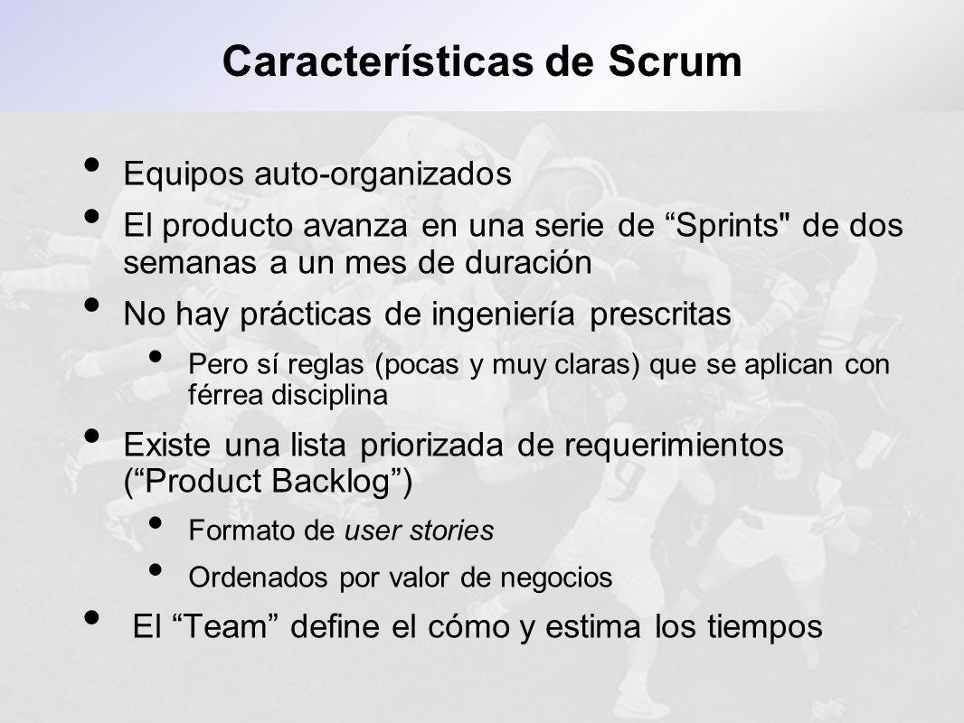 Equipos auto-organizados El producto avanza en una serie de Sprints