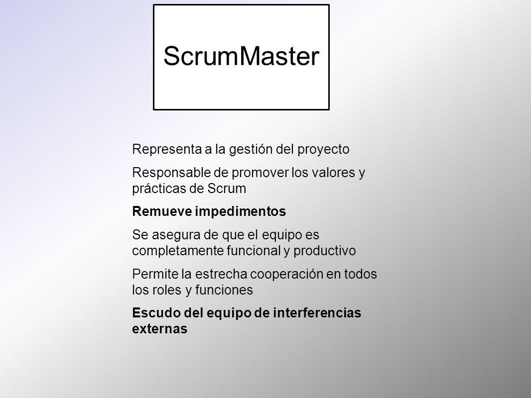 ScrumMaster Representa a la gestión del proyecto Responsable de promover los valores y prácticas de Scrum Remueve impedimentos Se asegura de que el eq