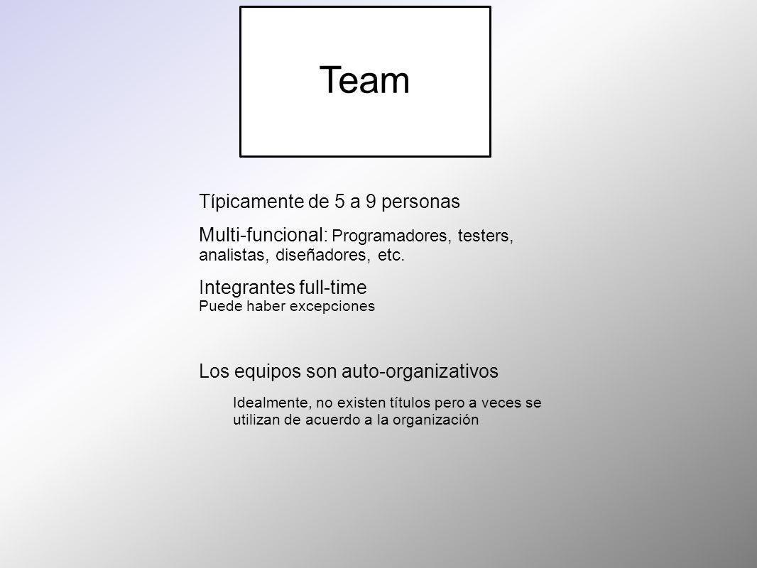 Team Típicamente de 5 a 9 personas Multi-funcional: Programadores, testers, analistas, diseñadores, etc. Integrantes full-time Puede haber excepciones