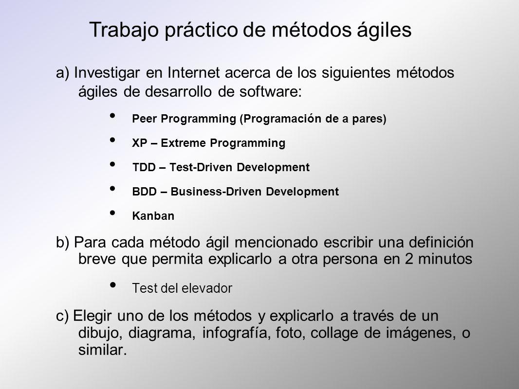 a) Investigar en Internet acerca de los siguientes métodos ágiles de desarrollo de software: Peer Programming (Programación de a pares) XP – Extreme P