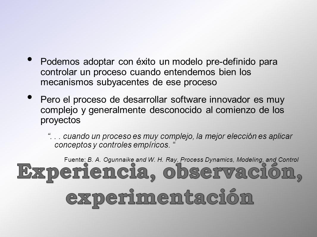 Podemos adoptar con éxito un modelo pre-definido para controlar un proceso cuando entendemos bien los mecanismos subyacentes de ese proceso Pero el pr