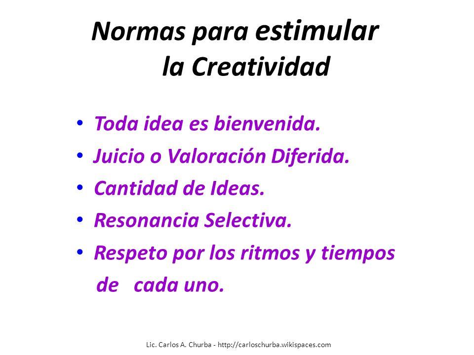 Normas para estimular la Creatividad Toda idea es bienvenida. Juicio o Valoración Diferida. Cantidad de Ideas. Resonancia Selectiva. Respeto por los r