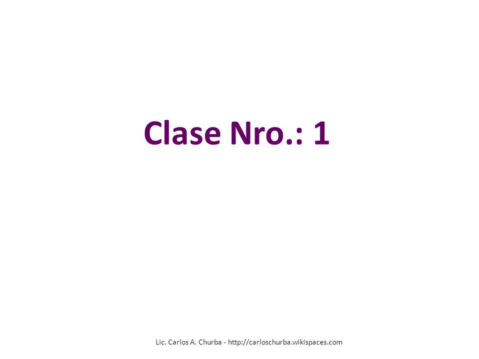 Lic. Carlos A. Churba - http://carloschurba.wikispaces.com Clase Nro.: 1
