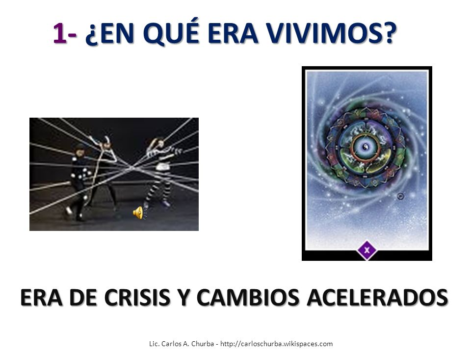 Lic. Carlos A. Churba - http://carloschurba.wikispaces.com 1- ¿EN QUÉ ERA VIVIMOS? 1- ¿EN QUÉ ERA VIVIMOS? ERA DE CRISIS Y CAMBIOS ACELERADOS