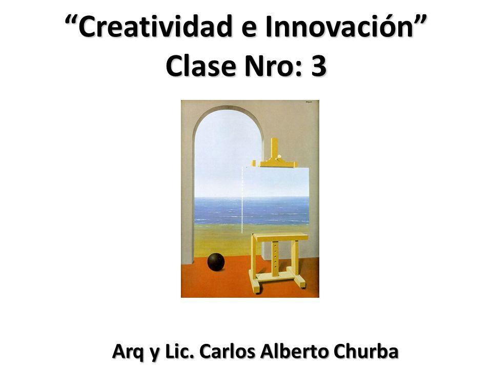Creatividad e Innovación Clase Nro: 3 Arq y Lic. Carlos Alberto Churba Arq y Lic. Carlos Alberto Churba