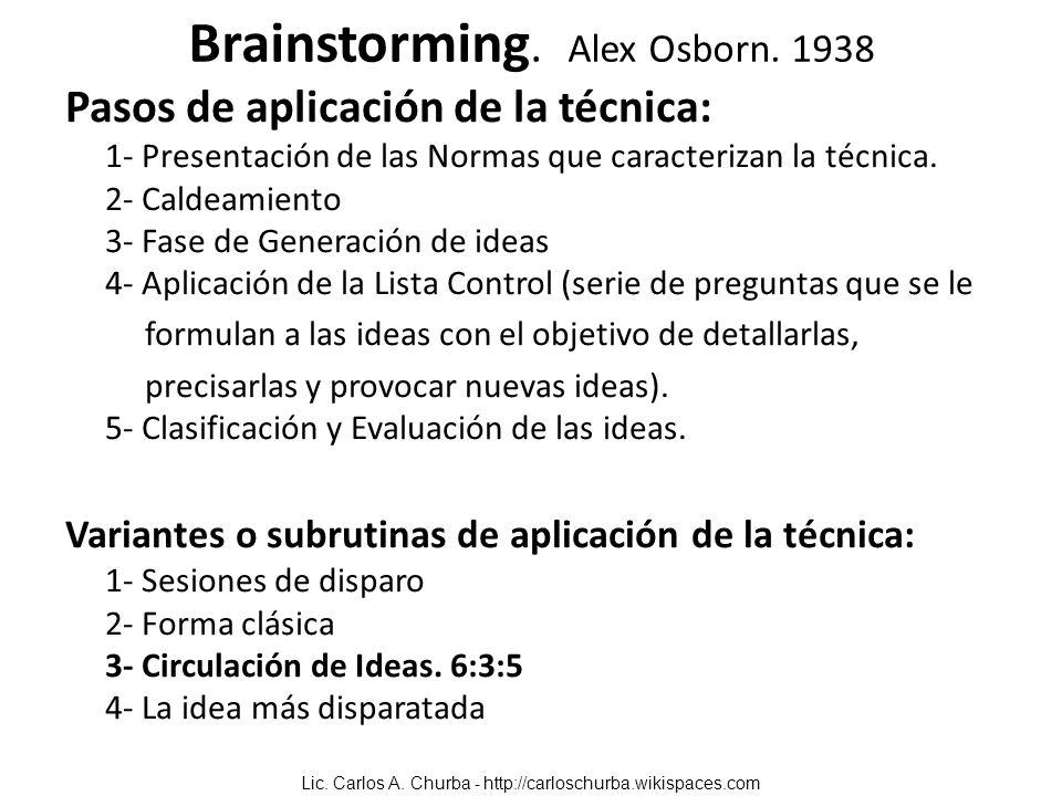 Brainstorming. Alex Osborn. 1938 Pasos de aplicación de la técnica: 1- Presentación de las Normas que caracterizan la técnica. 2- Caldeamiento 3- Fase